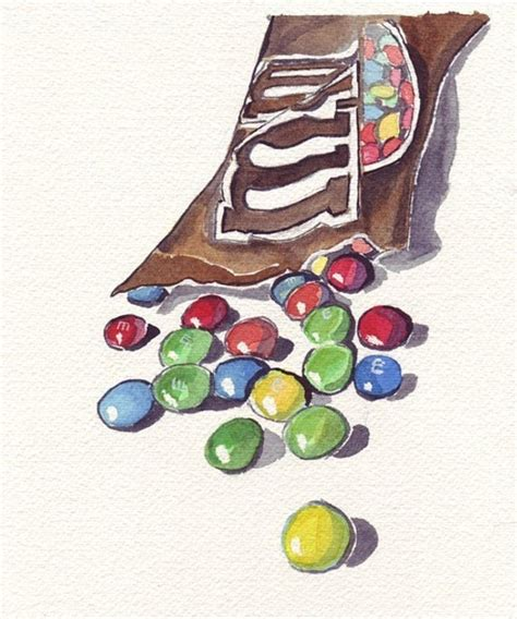 ms chocolate candy art original watercolor painting