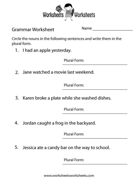 grammar worksheet printable grammar worksheets