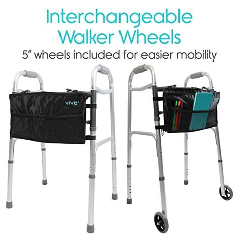 walker seniors walkers vive aid wheeled mobility narrow lightweight folding adjustable portable support front