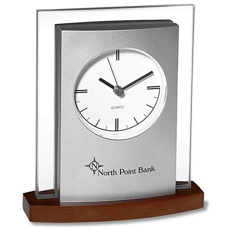 4imprintcom Desktop Analog Clock  Wood Base 2456w