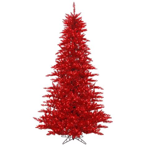 14 foot red tinsel christmas tree red lights k125196