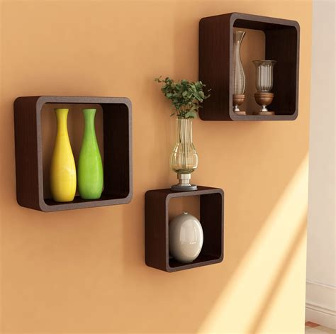 Popular Brown Square Modern Wall Shelves For Crafts