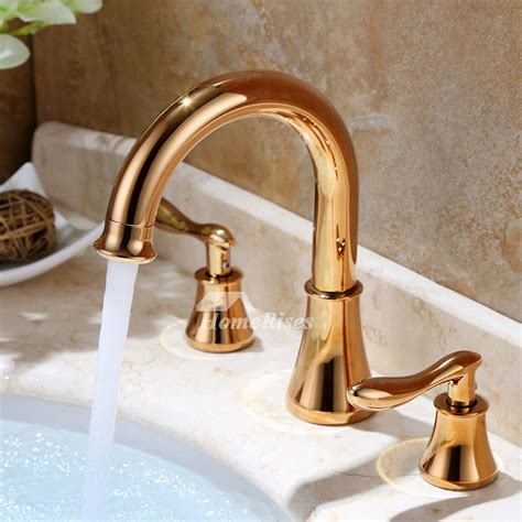 tone bathroom faucets rose gold  hole widespread