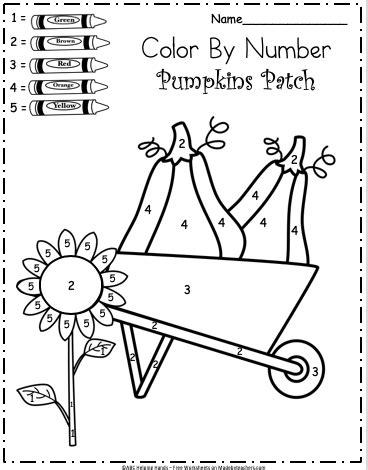 kindergarten fall color  number worksheet madebyteachers