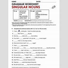 English Grammar Singular Nouns (with 'a' And 'an') Wwwallthingsgrammarcompluralsingular