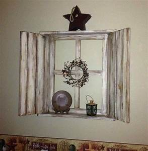 Gorgeous vintage window and mirror rustic shutter