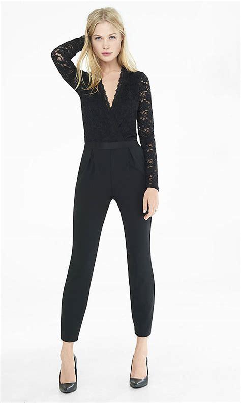 express jumpsuits black lace surplice front jumpsuit express