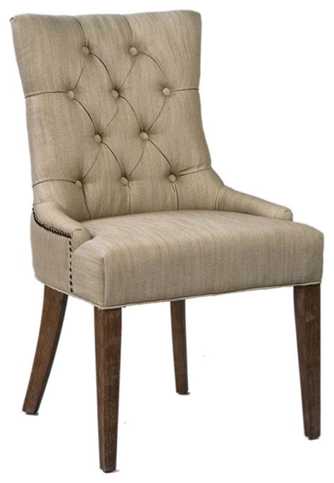 beige tufted dining chair transitional dining chairs