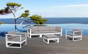 Salon De Jardin Blanc : salon de jardin aluminium haut de gamme 5 places st tropez ~ Teatrodelosmanantiales.com Idées de Décoration