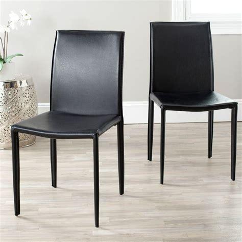 safavieh karna black bonded leather dining chair foxb