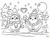 Coloring Penguin Couple Printable Penguins Valentine Couples Drawing Winter Holidays Categories Crafts Paper sketch template