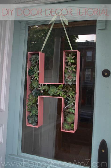 door decor      wood letter monogram wreath home stories