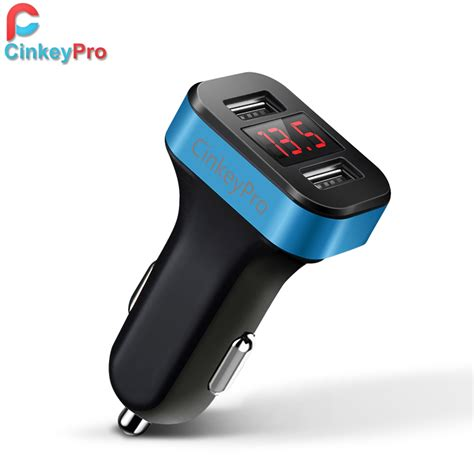 cinkeypro led screen car charger for iphone samsung 2 port usb smart car charger adapter 2 1a