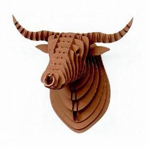 Tete Animaux Deco : troph e mural t te de taureau carton bull crembo ~ Teatrodelosmanantiales.com Idées de Décoration