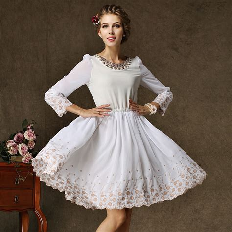 style new year dresses embroidered peony dress autumn casual dress autumn 2015 fashion exquisite embroidery hem