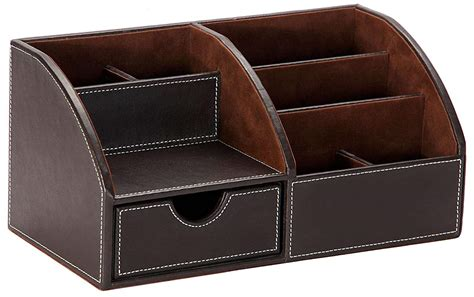 Leather Desk Organizer Office Supplies Holder 6 Divided