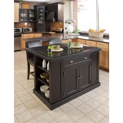 home styles nantucket black kitchen island  granite