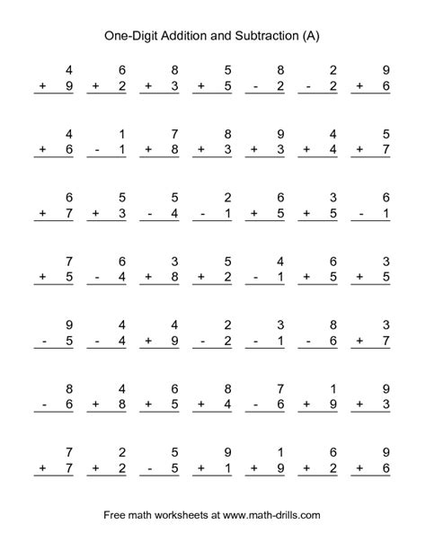 combined addition  subtraction worksheet single