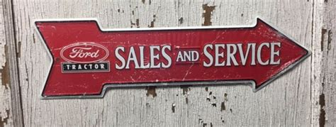 """Ford Tractor Sales and Service 6"""" x 20"""" Embossed Metal Red ..."""