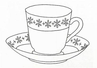Cup Tea Coloring Pages Cups Printable Saucer