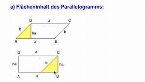 Flächeninhalt Berechnen Parallelogramm : parallelogramm fl cheninhalt und umfang 1 youtube ~ Themetempest.com Abrechnung