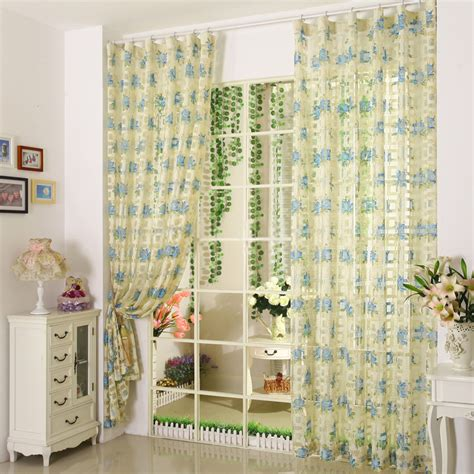 decorative blue flower royal blue sheer curtains