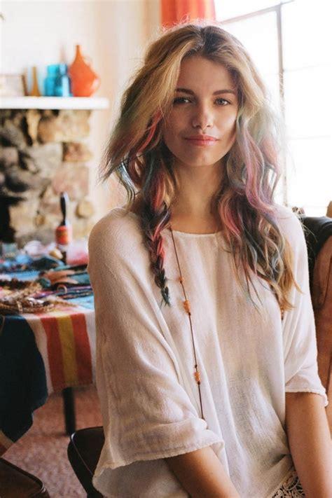 Hair Chalk Arty Boho Rainbow Waves And Braid Hairstyles