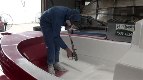 Applying Bottom Paint New Boat by Tailored Marine Apply The Layer Of Gel Coat To Our