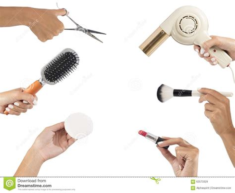 makeup  hairstyle tools stock photo image
