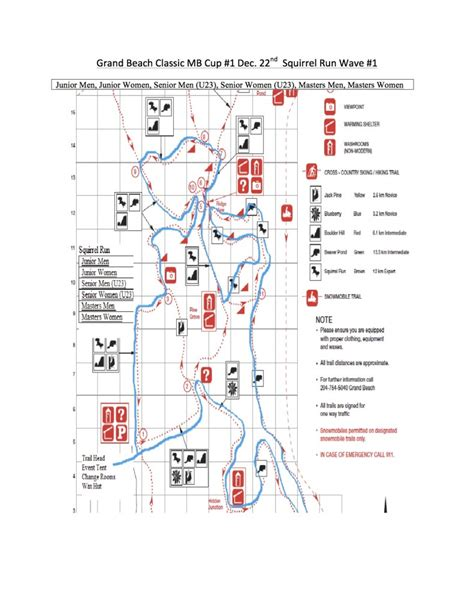 grand beach race maps cross country ski association manitoba