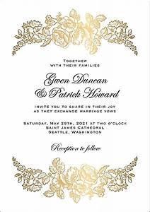 Floral Border Wedding Invitation