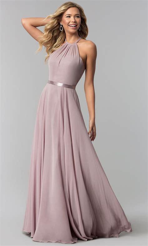 A-Line High-Neck Long Chiffon Formal Dress   Formal prom ...