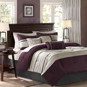 beautiful 7pc modern chic textured soft purple plum black grey comforter set new ebay