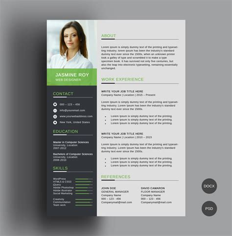 Photoshop Resume Template Free by 50 Free Cv Resume Templates Best For 2019 Design