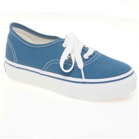 vans authentic canvas junior blue lace  kids shoes boys  charles clinkard uk