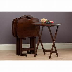 Table Tv But : winsome wood lucca 5 piece set tv tables with handle kitchen dining ~ Teatrodelosmanantiales.com Idées de Décoration