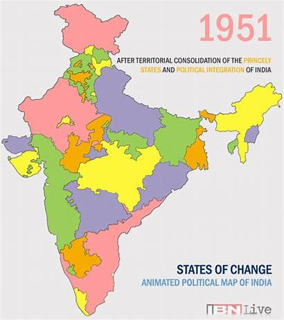 India Map Animated Political States Indian Republic