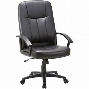 Lorell, Chadwick, Executive, Leather, High-back, Chair, -, Black, Leather, Seat, -, Black, Frame