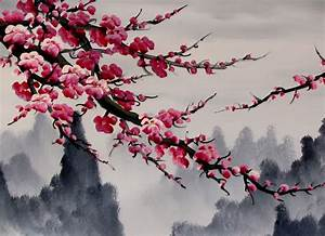 Chinese Feng Shui Painting, Chinese Cherry Blossom Painting