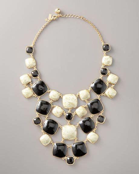 kate spade cobblestone bib necklace  gold black lyst
