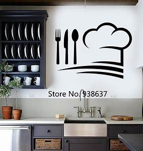 chef hat wall decals vinyl art wall stickers home decor With kitchen colors with white cabinets with vinyl stick on wall art