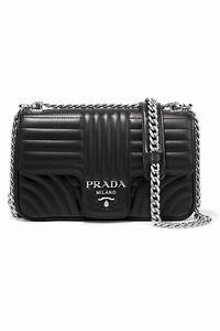 Prada Medium Diagramme Leather Shoulder Bag  Black