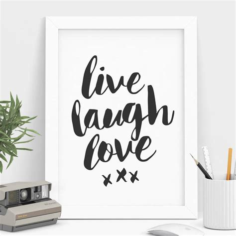 live laugh love black and white typography print by the motivated type notonthehighstreet com