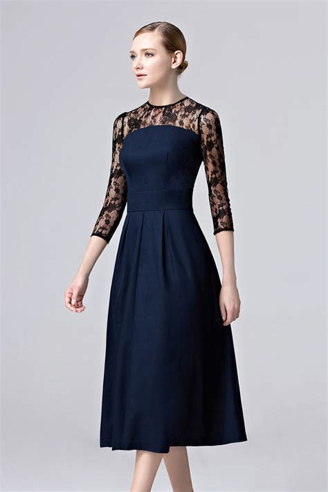 robe bleu marine mariage mi longue femme robe bleu nuit invit 233 mariage mi longue col illusion