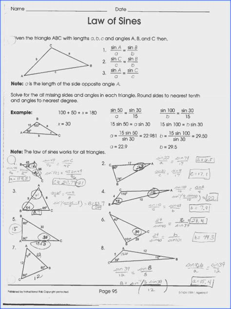 Law Of Sines And Cosines Worksheet Mychaumecom