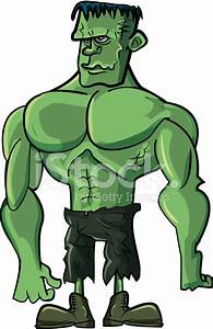 Cartoon Green Frankenstein Bodybuilder Monster stock ...