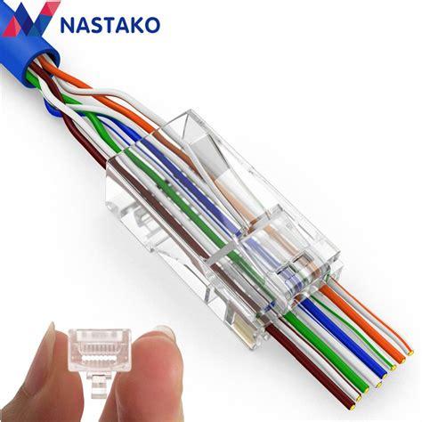 nastako 50 100x cat5e cat6 connector rj45 connector ez rj45 cat6 network cable plug unshielded