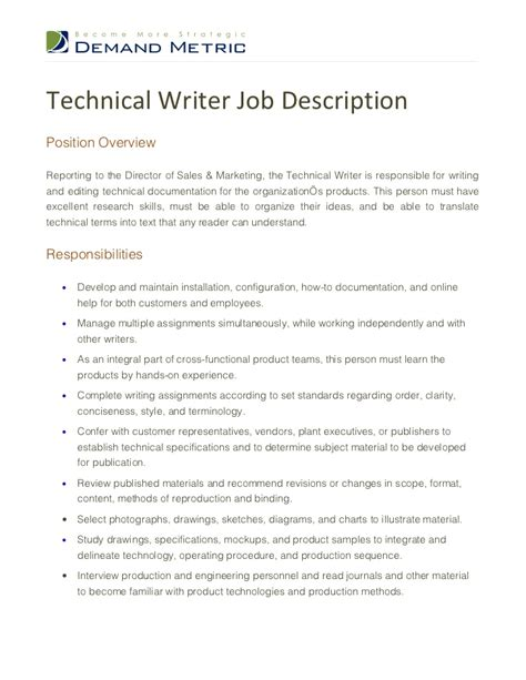 Technical Writer Resume Sles by Technical Writer Description