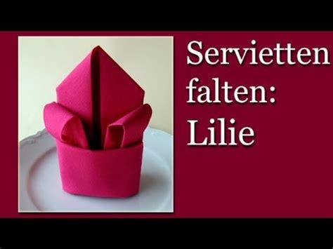 servietten falten blume servietten falten einfach lilie blume falten