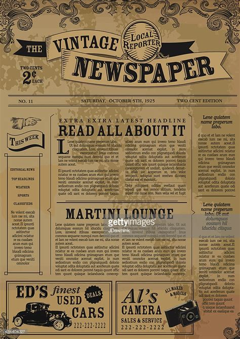 old newspaper template vintage newspaper layout design template vector getty images